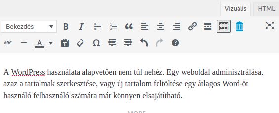 WordPress szerkesztő