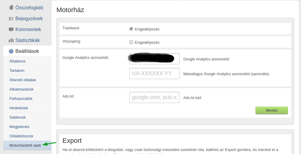 Google Analytics blog.hu beállítás