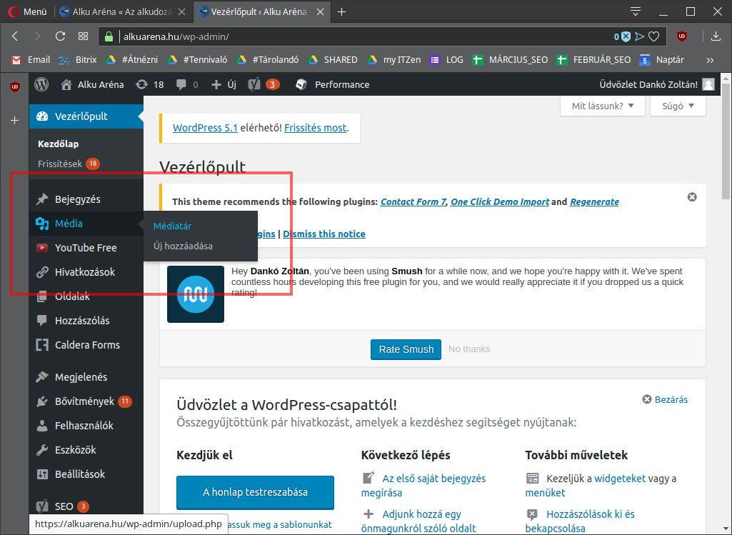 képek átméretezése WordPress alatt, bal oldali menü, Médiatár