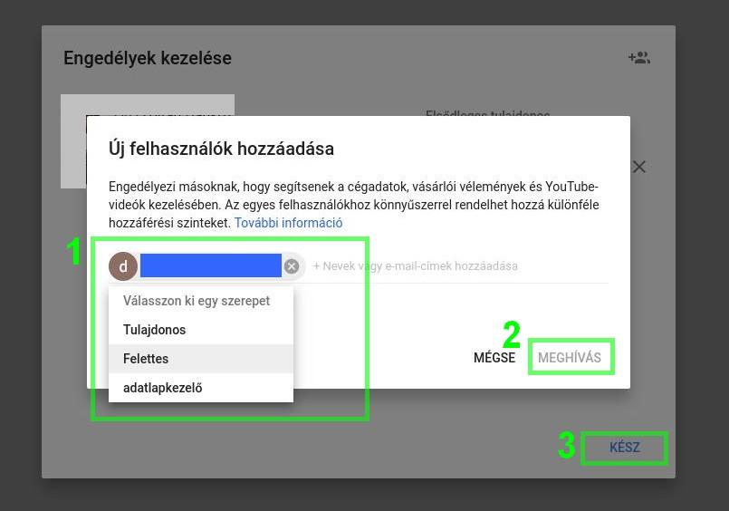 Google Cégem új felhasználó meghívása panel