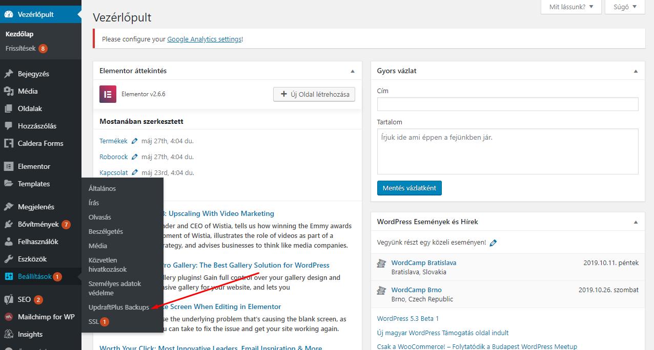 WordPress biztonsági mentés Updraft Plus segítségével